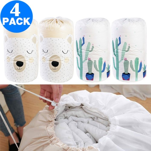 4 Pack Drawstring Quilt Organizer Bags Cactus Bear