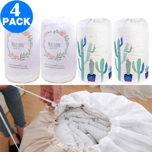 4 Pack Drawstring Quilt Organizer Bags Cactus Flower Loop
