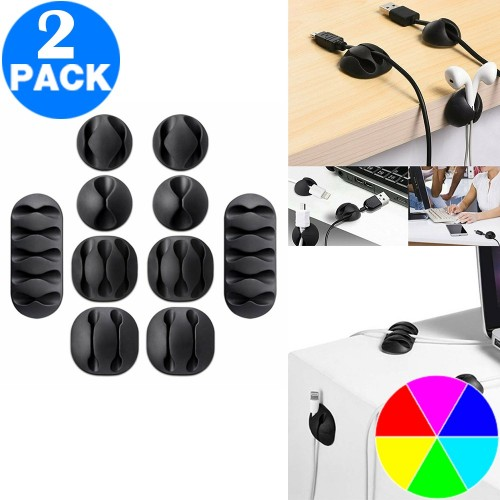 2 Sets of 20PCS Cable Clips Cord Organizer Set Durable Self-Adhesive Cable Wire Holder