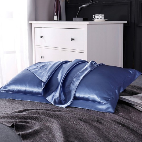 1 Pair of Silky Satin Pillowcases Soft Breathable Pillowcase Pillow Cover PILLW IS NOT INCLUDED Blue