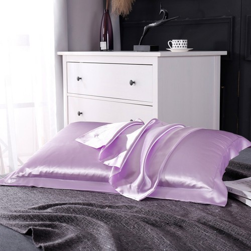 1 Pair of Silky Satin Pillowcases Soft Breathable Pillowcase Pillow Cover PILLW IS NOT INCLUDED Purple