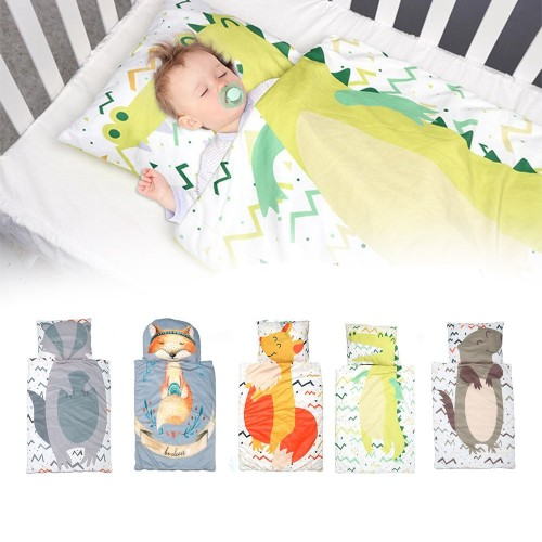 Toddler Nap Mat with Removable Pillow Baby Sleeping Bag Soft Cotton Quilt Zipper Closure Daycare Cushion