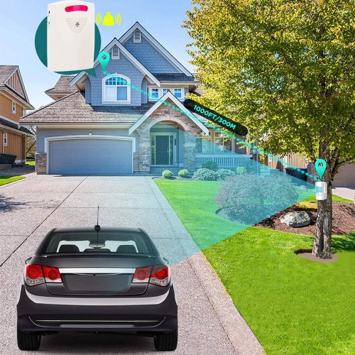 Motion Sensor Driveway Alarm Battery Powered Passage Detector Wireless Alarm and Infrared Sensor Home Security System