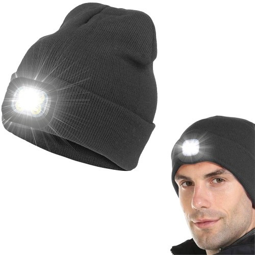 USB Rechargeable Winter Warm Knitted Beanie Hat with LED Light Camping Hat Workwear Hat Dark Grey