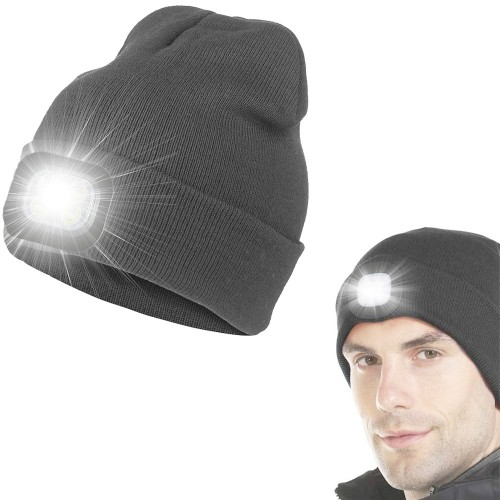 USB Rechargeable Winter Warm Knitted Beanie Hat with LED Light Camping Hat Workwear Hat Light Grey