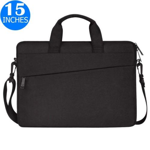 15 Inches Handheld Laptop Bag Portable Lightweight Shoulder Bag Shock Absorption Handbag Black