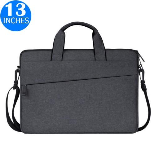 13 Inches Handheld Laptop Bag Portable Lightweight Shoulder Bag Shock Absorption Handbag Dark Grey