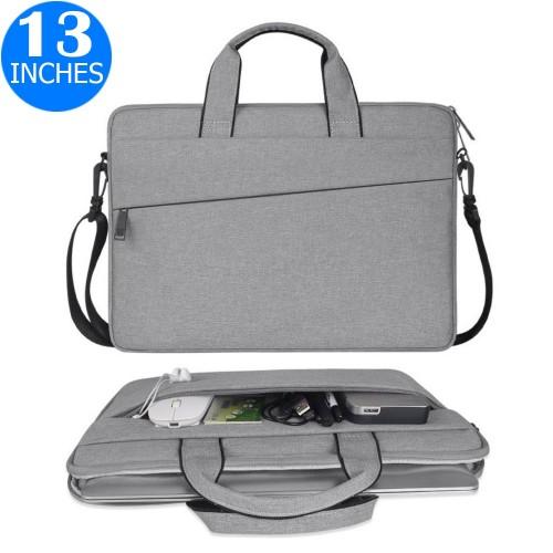 13 Inches Handheld Laptop Bag Portable Lightweight Shoulder Bag Shock Absorption Handbag Light Grey