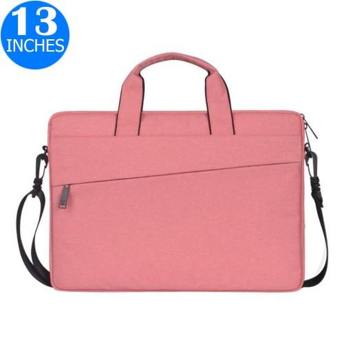 13 Inches Handheld Laptop Bag Portable Lightweight Shoulder Bag Shock Absorption Handbag Pink