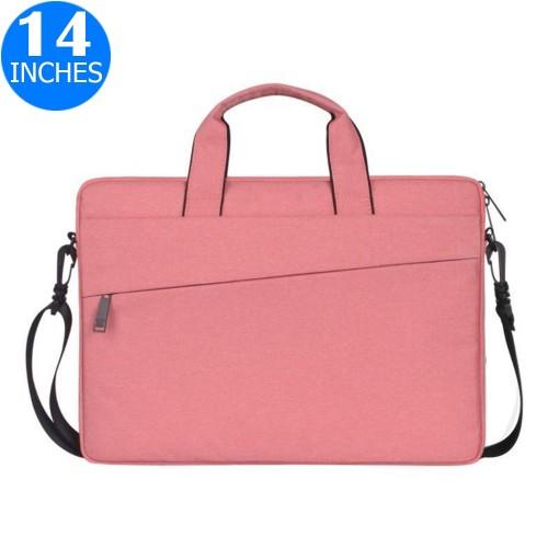 14 Inches Handheld Laptop Bag Portable Lightweight Shoulder Bag Shock Absorption Handbag Pink