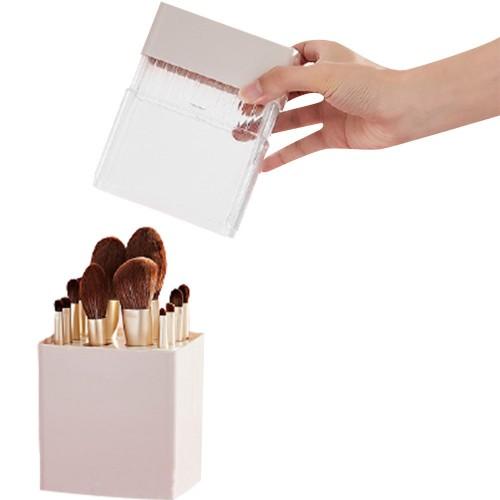 Air-Drying Makeup Brushes Box Makeup Brush Holder Multifunctional Cosmetic Organizer Dustproof 12 Holes Storage Box Pink