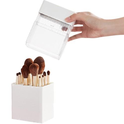 Air-Drying Makeup Brushes Box Makeup Brush Holder Multifunctional Cosmetic Organizer Dustproof 12 Holes Storage Box White