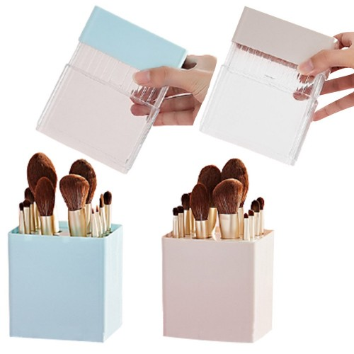 2 X Air-Drying Makeup Brushes Box Makeup Brush Holder Multifunctional Cosmetic Organizer Dustproof 12 Holes Storage Box Blue and Pink