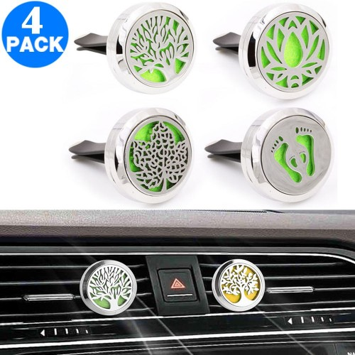 4 X Aromatherapy Essential Oil Car Vent Diffuser with One Felt Pad