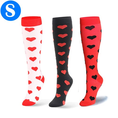 3 Pairs of Small Size Heart Pattern Womens Knee Length Compression Socks