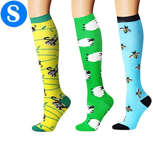 3 Pairs of Small Size Style 4 5 6 Womens Knee Length Compression Socks