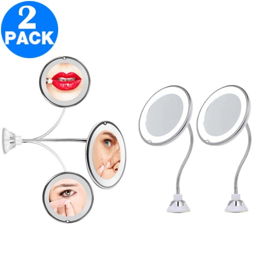 2 Pack 10X Magnifying Makeup Vanity Mirror with Lights