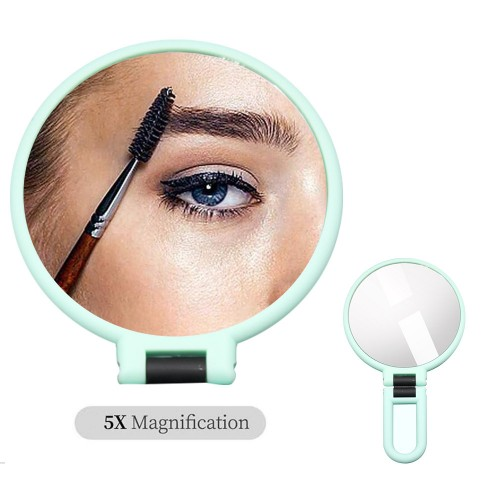 Makeup Double-Sided 5x 1x Magnifying Handheld Mirror - Green
