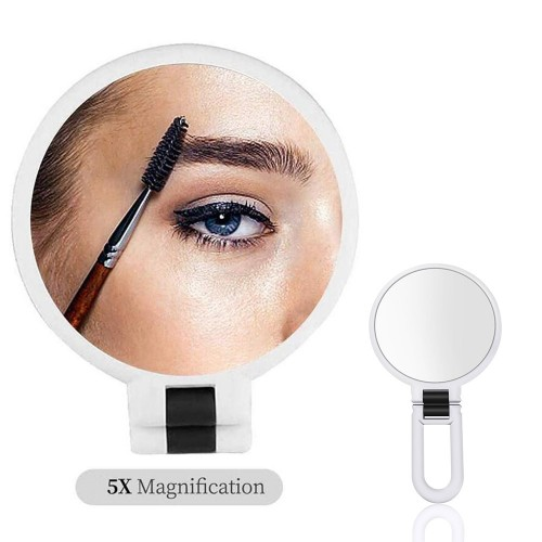 Makeup Double-Sided 5x 1x Magnifying Handheld Mirror - White
