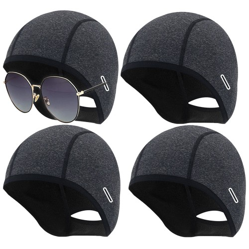4 X Skull Caps Helmet Winter Thermal Liner with Glasses Port WITHOUT GLASSES