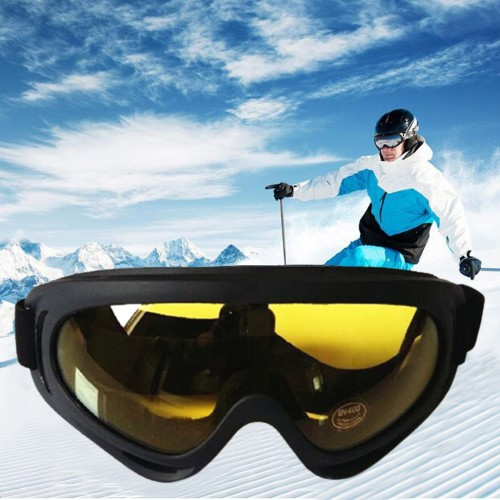 One Pair of Outdoor  Anti Fog Snow Goggles-Yellow