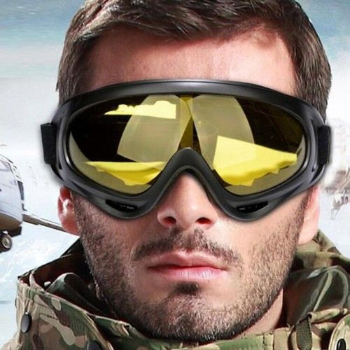 Two Pairs of Outdoor  Anti Fog Snow Goggles-Yellow and Blue