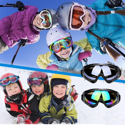 Two Pairs of Outdoor Ski Goggles-Black and Colour mixture