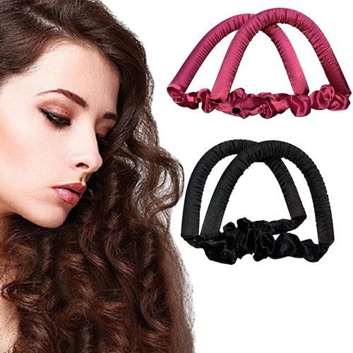 2 X Black Rose Red Heatless Hair Curl Ribbon Non Iron Lazy Hair Curling Tools