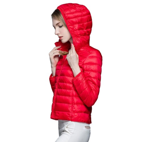 Womens Hooded Warm Jacket K-6003 Red