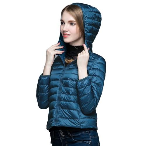 Womens Hooded Warm Jacket K-6003 Bluish-green