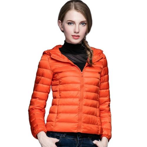 Womens Hooded Warm Jacket K-6003 Orange