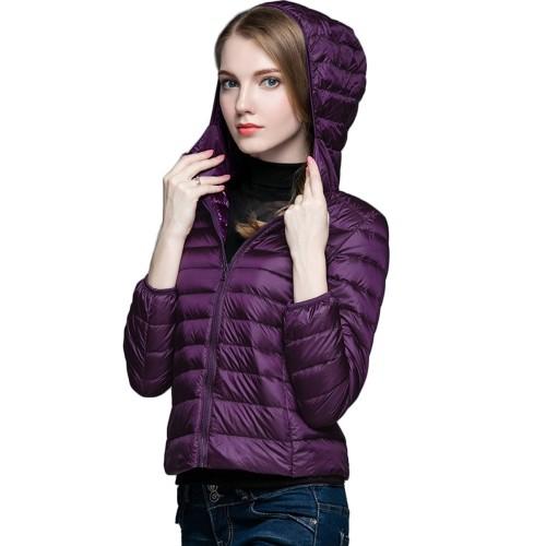 Womens Hooded Warm Jacket K-6003 Purple