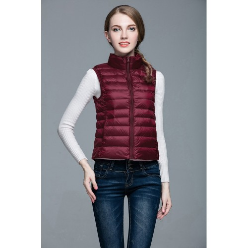 Womens Stand-up Collar Vest K-6001 Winered