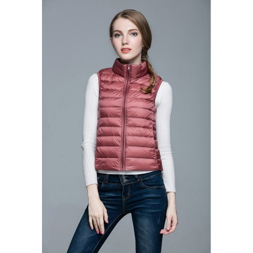 Womens Stand-up Collar Vest K-6001 Pink