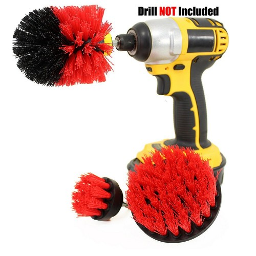 3PCS Universal Drill Power Heavy Duty Brush Cleaning Set Red