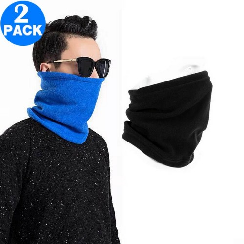 2 X Unisex Multifunctional Neck Warmers Black and Blue