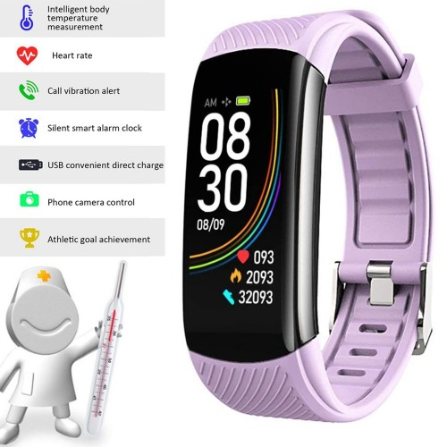 C6T Smart Watch Sports Bracelet Body Temperature Heart Rate Blood Oxygen Blood Pressure Monitor Purple