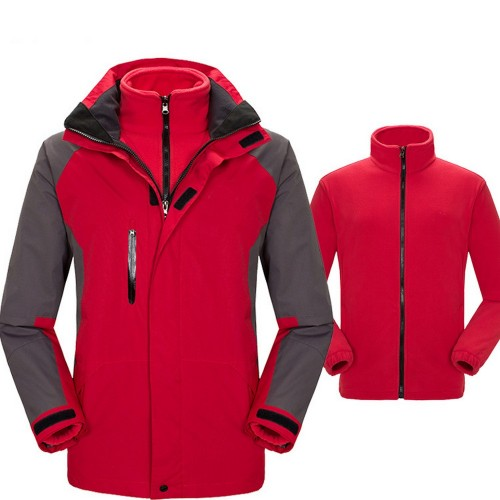 Mens 3 in 1 Winter Windproof Coats Ski Hooded Jacket with Warm Inner
