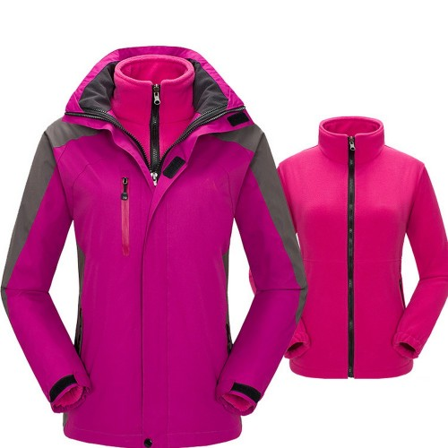 Womens 3 in 1 Winter Windproof Coats Ski Hooded Jacket with Warm Inner