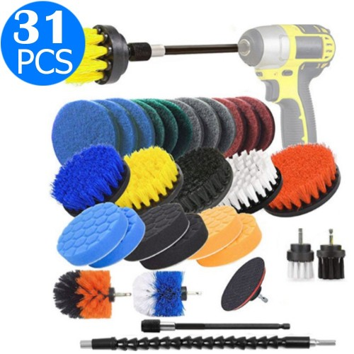 31 Pieces Drill Brush Attachments Set Cleaning Sponge Scrub Pads