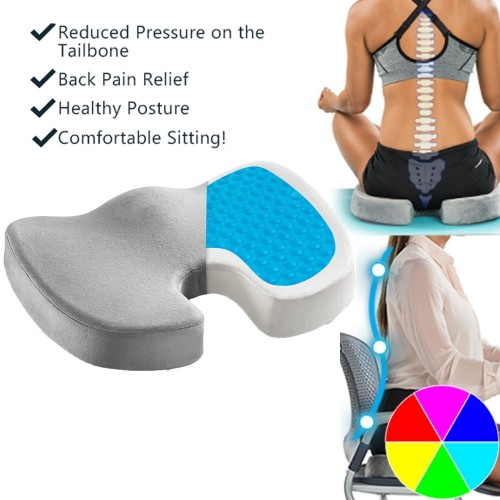 Gel Memory Foam Seat Cushion Back Pillow Seat Pad for Office Chair Car Seat