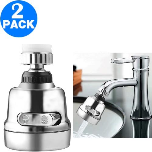 2 X 2 Modes Kitchen Sink 360 Flexible Extension Hose Faucet Sprayers Attachment Water Saving Short Nozzles