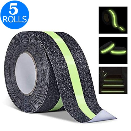 5 Rolls 5CMx5M Glowing in The Dark Grit Surface Anti Slip Grip Tape Hazard Caution Warning Tape for Outdoor Floor Home Stair Steps