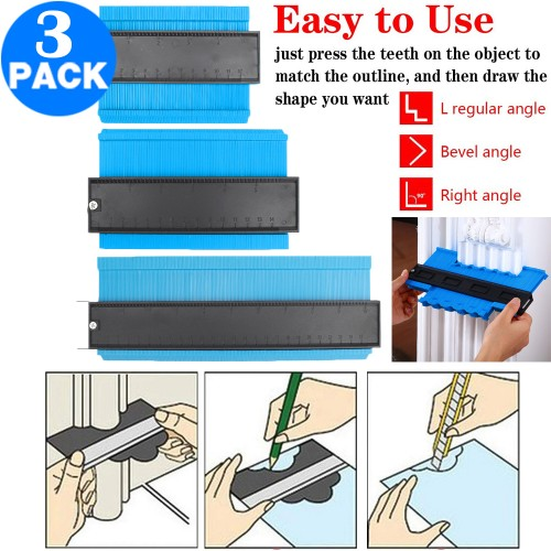 3 Pack 5 Inch 6 Incn 10 Inch Contour Gauge Gauge Shape Duplicator Irregular Shapes Template Measuring Tool Ruler Blue