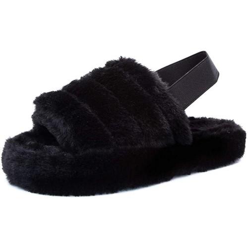 Womens Fluffy Open Toe House Slide Slipper Sandal Spa Bedroom Shoes Black