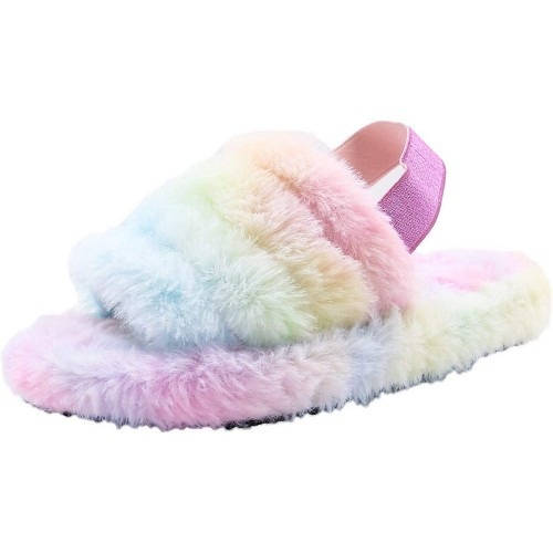Womens Fluffy Open Toe House Slide Slipper Sandal Spa Bedroom Shoes Multicolor