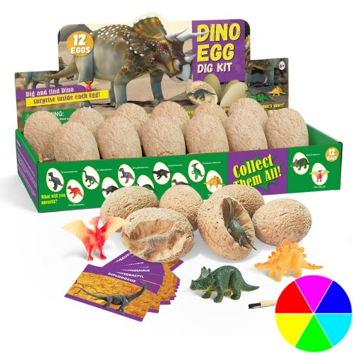 12 Dinosaur Egg Dig Kit Animal Model Toys Educational Christmas Gift
