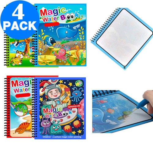 4 Pack Reusable Magic Water Coloring Book with Drawing Pen Painting Book