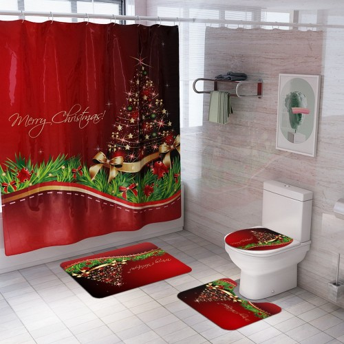 Christmas Printed Shower Curtain and Toilet Lid Cover and Bath Mat and Bathroom Rug Set Style 2