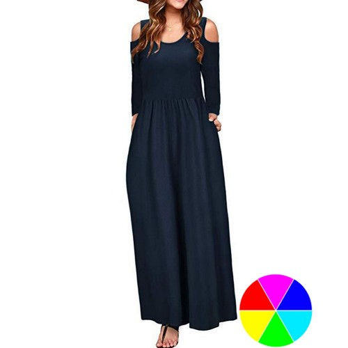 Womens Summer Solid Color Long Sleeve Cold Shoulder Maxi Dress with Pocket